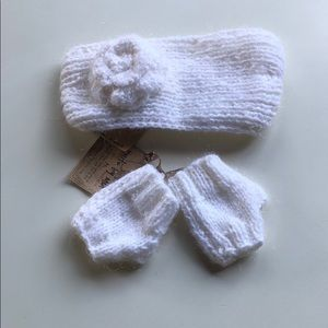 Knits By Mia | White Knit Headband & Gloves | M/L